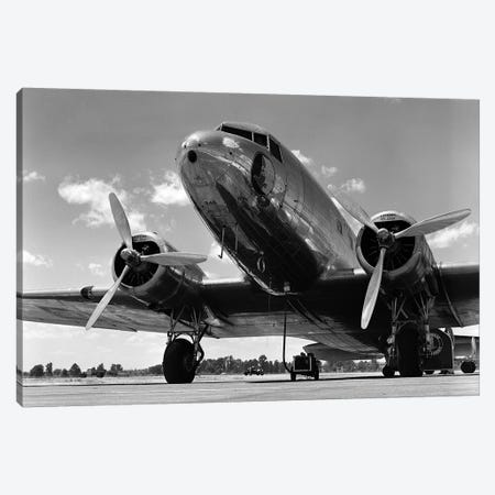 1940s Domestic Propeller Passenger Airplane Dual Engine Landing Gear Nose And Partial Wings Visible 3-Piece Canvas #VTG549} by Vintage Images Canvas Art Print