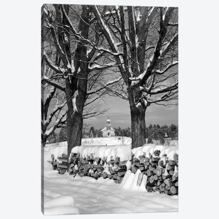 1940s Pile Of Snow-Covered Firewood Logs Stacked Between Two Trees With Country Church In Background Canvas Print #VTG550} by Vintage Images Canvas Wall Art