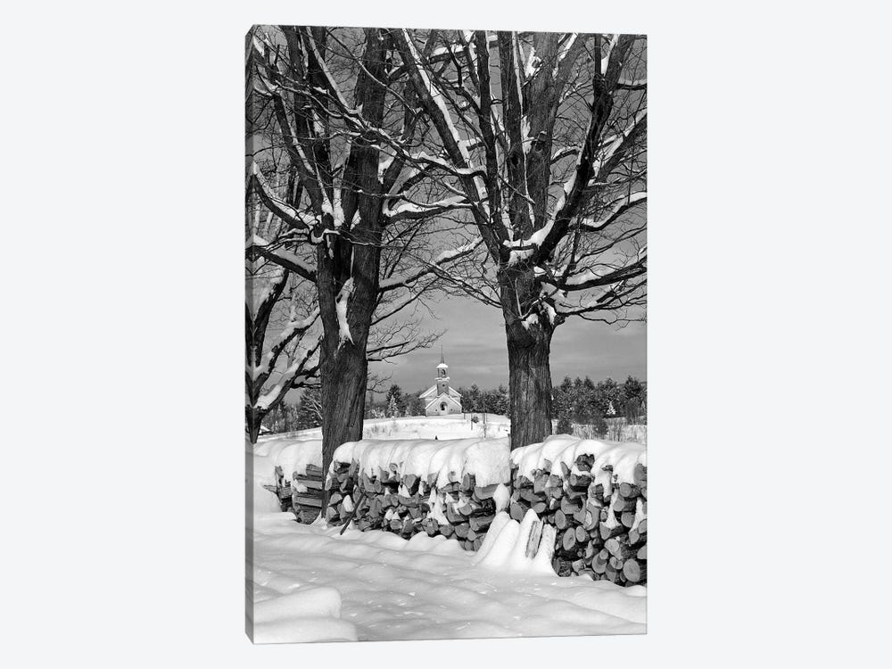 1940s Pile Of Snow-Covered Firewood Logs Stacked Between Two Trees With Country Church In Background by Vintage Images 1-piece Art Print