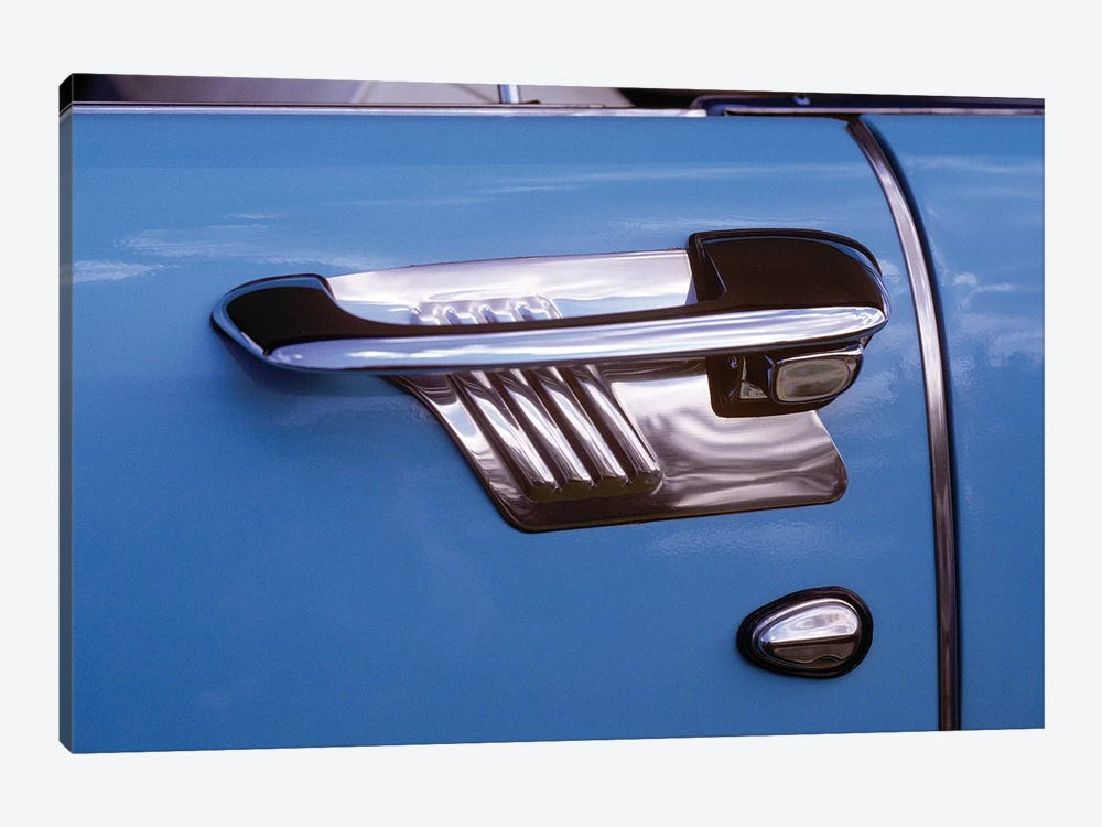 1950s Art Deco Style Door Handle Of Vintage Antique Classic Car Metallic Silver And Blue Graphic Design Outdoor by Vintage Images 1-piece Canvas Artwork