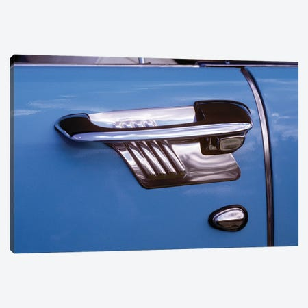 1950s Art Deco Style Door Handle Of Vintage Antique Classic Car Metallic Silver And Blue Graphic Design Outdoor 3-Piece Canvas #VTG555} by Vintage Images Canvas Art Print