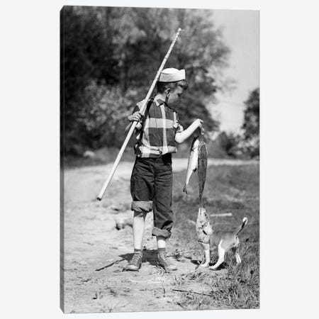1950s Boy Plaid Shirt Sailor Hat Fishing Pole Dog Pulling On Tail Of Caught Fish Canvas Print #VTG556} by Vintage Images Canvas Print