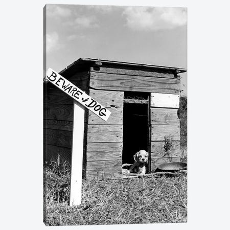 1950s Cocker Spaniel Puppy In Doghouse With Beware Of Dog Sign Canvas Print #VTG559} by Vintage Images Canvas Artwork