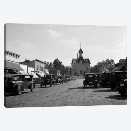 1920s-1928 View Of Cottonwood Falls Kansas Main Street With Traffic Canvas Print #VTG55} by Vintage Images Canvas Art