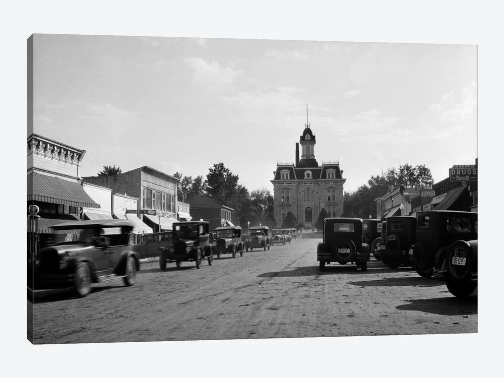 1920s-1928 View Of Cottonwood Falls Kansas Main Street With Traffic by Vintage Images 1-piece Canvas Art