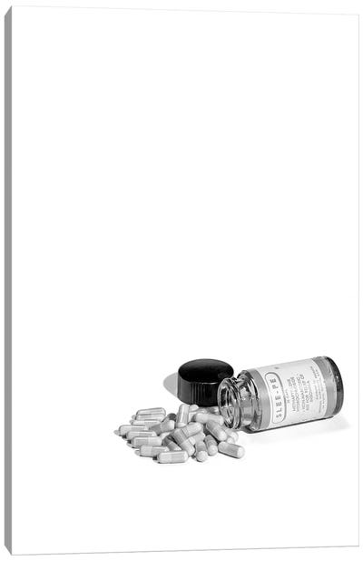 1950s Pill Bottle On Its Side Next To Pile Of Capsules Canvas Art Print