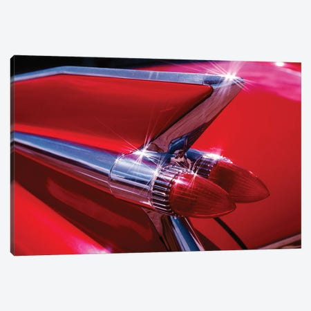 1950s Red Cadillac Car Fender Tail Fins Classic Antique Automobile Canvas Print #VTG568} by Vintage Images Canvas Art Print