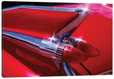 1950s Red Cadillac Car Fender Tail Fins Classic Antique Automobile Canvas Art Print