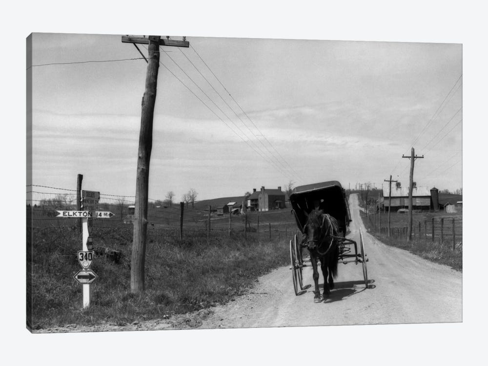 1920s-1930s Amish Man Driving Buggy Down Rural Dirt Road In Farm Country by Vintage Images 1-piece Art Print
