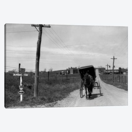 1920s-1930s Amish Man Driving Buggy Down Rural Dirt Road In Farm Country Canvas Print #VTG56} by Vintage Images Canvas Wall Art