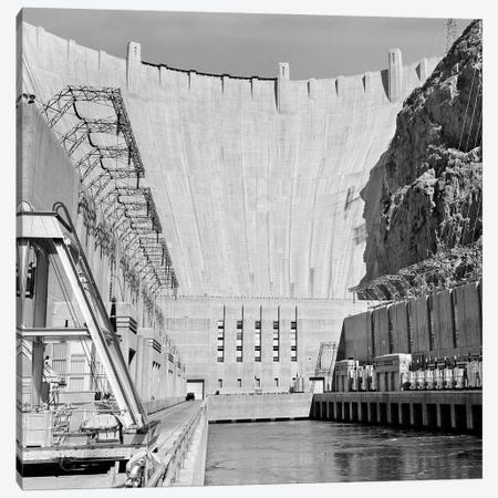 1950s Shot Of Hoover Dam Taken From End Of Concrete Piers Where Transformers Are Located Canvas Print #VTG570} by Vintage Images Canvas Art