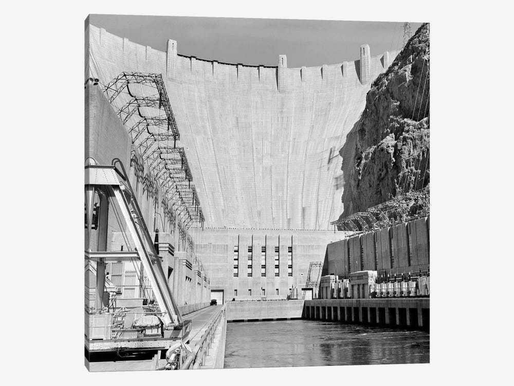 1950s Shot Of Hoover Dam Taken From End Of Concrete Piers Where Transformers Are Located by Vintage Images 1-piece Canvas Art Print