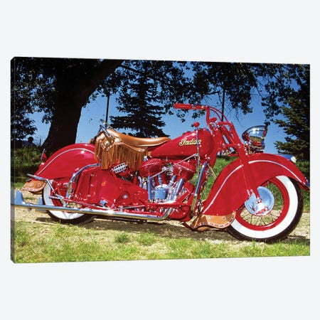 1953 Bright Red Indian Motorcycle Canvas Print #VTG575} by Vintage Images Art Print
