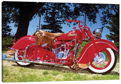 1953 Bright Red Indian Motorcycle Canvas Art Print