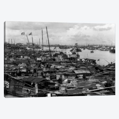 1920s-1930s Busy Harbor On Pearl River Crowded With Many Sampans Boats Canton China Canvas Print #VTG57} by Vintage Images Canvas Artwork