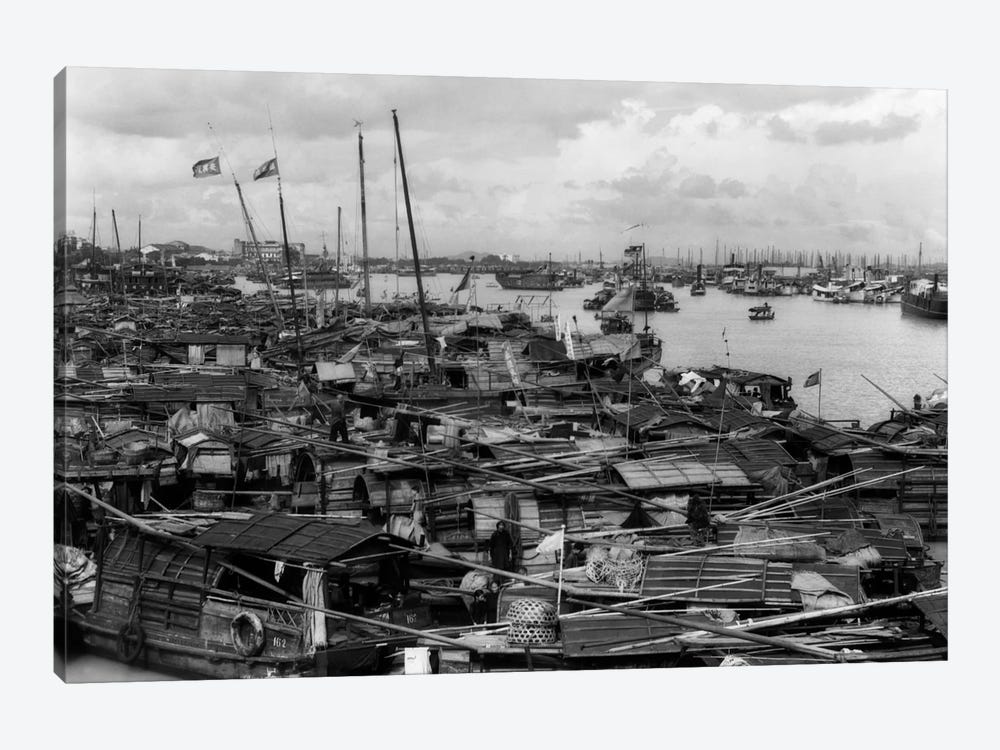1920s-1930s Busy Harbor On Pearl River Crowded With Many Sampans Boats Canton China by Vintage Images 1-piece Canvas Artwork