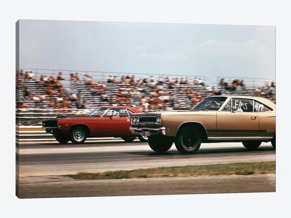 1970s 2 Cars Drag Racing Grandstand Race Speed Competition Automotive Brownsville Indiana Raceway by Vintage Images 1-piece Canvas Art