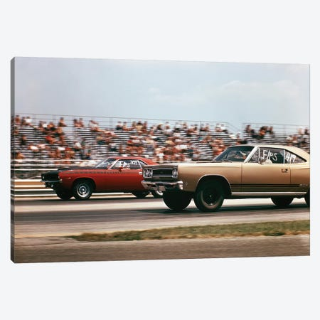 1970s 2 Cars Drag Racing Grandstand Race Speed Competition Automotive Brownsville Indiana Raceway 3-Piece Canvas #VTG593} by Vintage Images Canvas Wall Art
