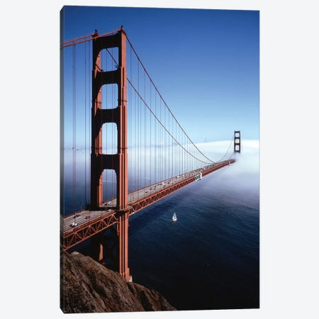 1980s Golden Gate Bridge With Fog Over City Of San Francisco CA, USA Canvas Print #VTG599} by Vintage Images Canvas Wall Art