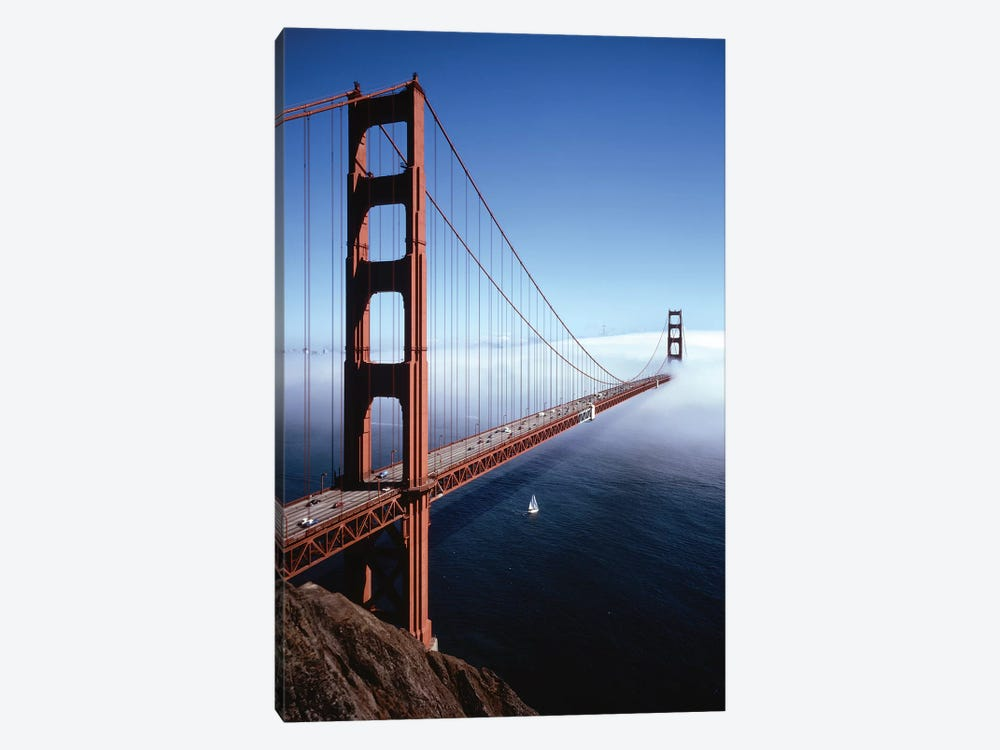 1980s Golden Gate Bridge With Fog Over City Of San Francisco CA, USA by Vintage Images 1-piece Canvas Art