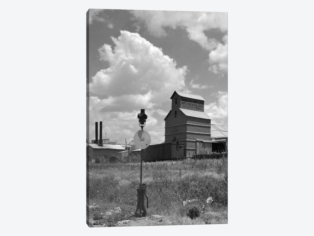 1920s-1930s Canadian Texas Panhandle Grain Elevator Nearby Railroad Switch Point Indicator And Lamp by Vintage Images 1-piece Canvas Artwork