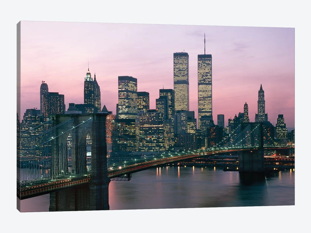 1980s New York City, NY Downtown Skyline At Dusk 1-piece Canvas Artwork