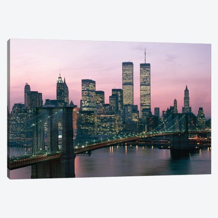 1980s New York City, NY Downtown Skyline At Dusk 3-Piece Canvas #VTG600} by Vintage Images Canvas Wall Art