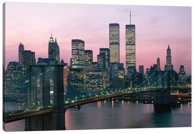1980s New York City, NY Downtown Skyline At Dusk Canvas Art Print