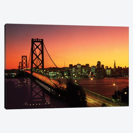 1980s Oakland Bay Bridge At Night San Francisco, California USA Canvas Print #VTG601} by Vintage Images Canvas Wall Art
