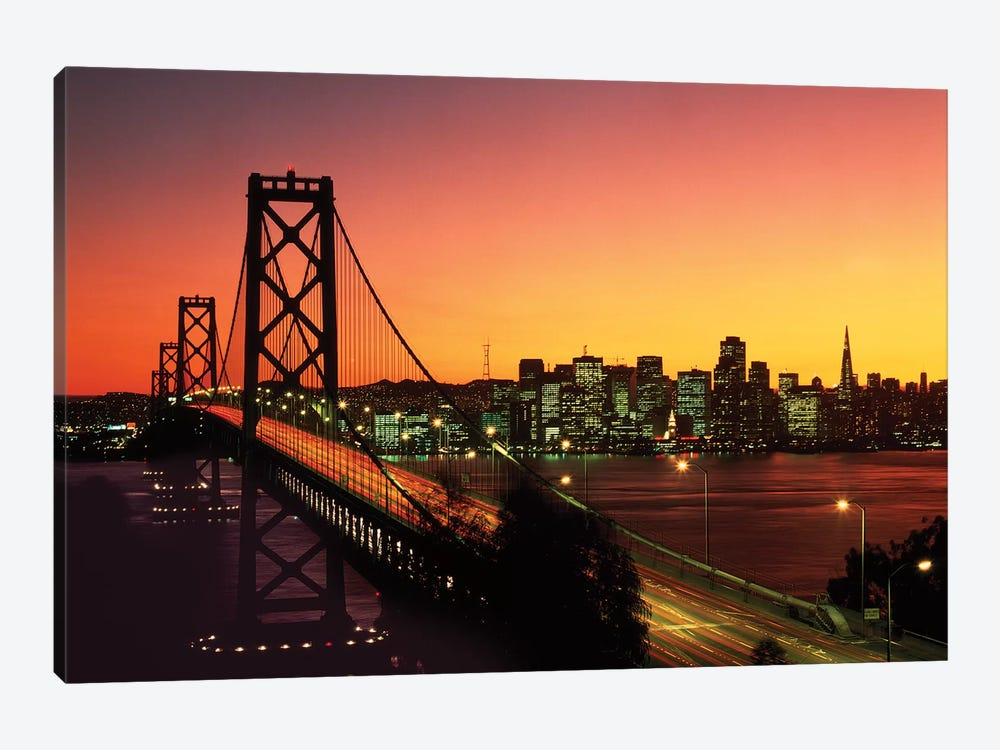 1980s Oakland Bay Bridge At Night San Francisco, California USA by Vintage Images 1-piece Canvas Print