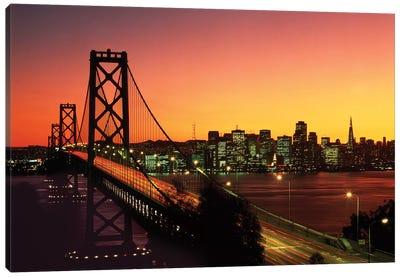1980s Oakland Bay Bridge At Night San Francisco, California USA Canvas Art Print