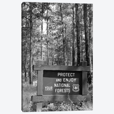 1980s Sign In Front Of Wooded Area Reading Protect And Enjoy Your National Forests Canvas Print #VTG602} by Vintage Images Canvas Artwork