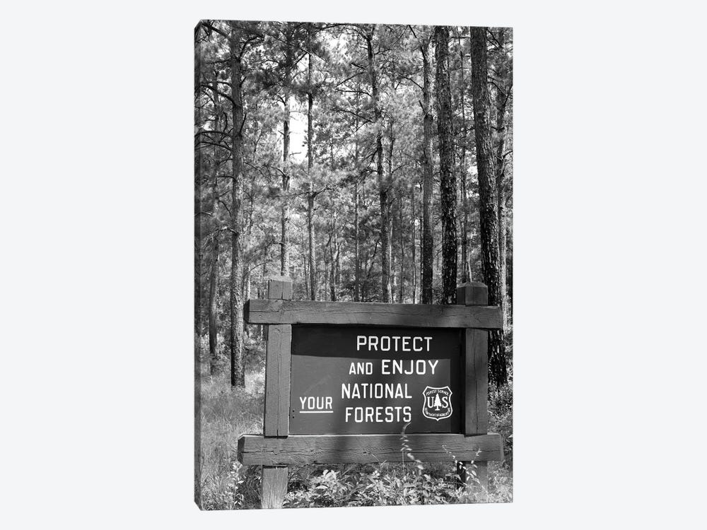 1980s Sign In Front Of Wooded Area Reading Protect And Enjoy Your National Forests by Vintage Images 1-piece Canvas Art