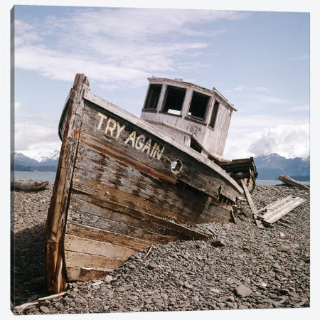 1980s Try Again Boat Wreck Homer, Alaska USA Canvas Print #VTG604} by Vintage Images Canvas Print