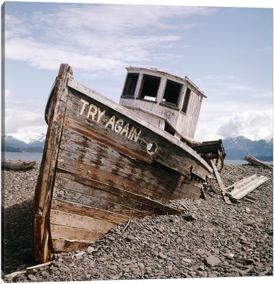 1980s Try Again Boat Wreck Homer, Alaska USA Canvas Art Print