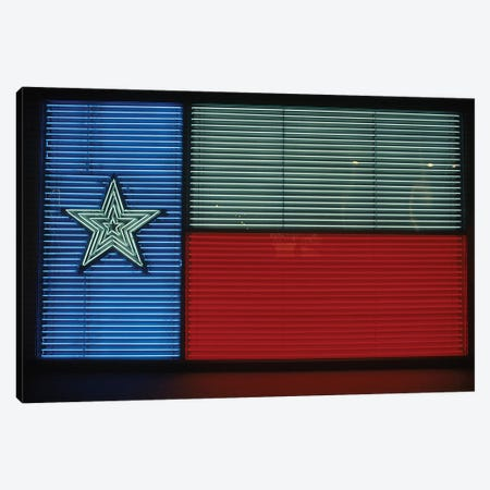 1990s Texas State Flag In Neon Sign Lights Canvas Print #VTG609} by Vintage Images Canvas Artwork