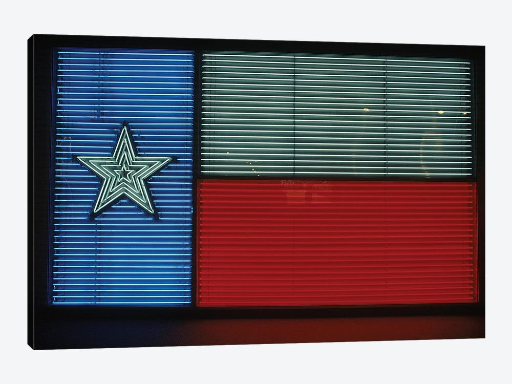 1990s Texas State Flag In Neon Sign Lights 1-piece Canvas Art Print