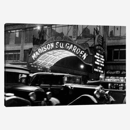 1920s-1930s Cars Taxis Madison Square Garden Marquee At Night Manhattan New York City USA Canvas Print #VTG60} by Vintage Images Canvas Art