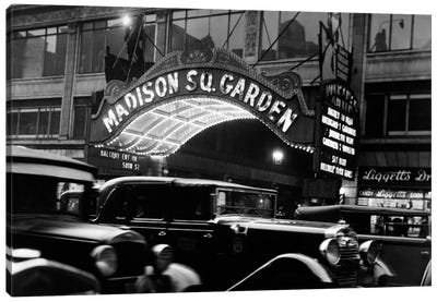 1920s-1930s Cars Taxis Madison Square Garden Marquee At Night Manhattan New York City USA Canvas Art Print