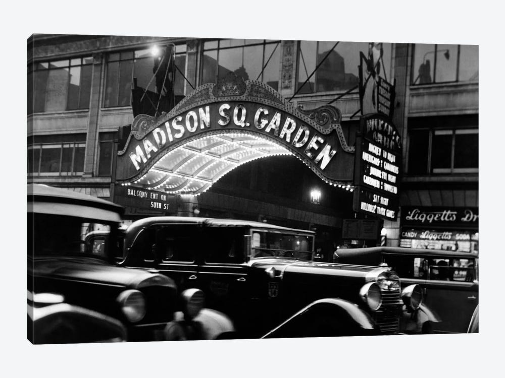 1920s-1930s Cars Taxis Madison Square Garden Marquee At Night Manhattan New York City USA by Vintage Images 1-piece Canvas Wall Art