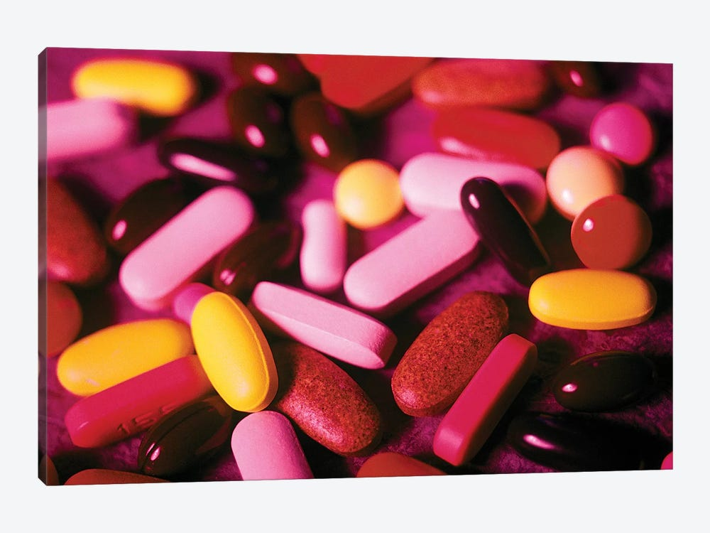 Assorted Vitamin Pills Tablets And Capsules by Vintage Images 1-piece Canvas Wall Art
