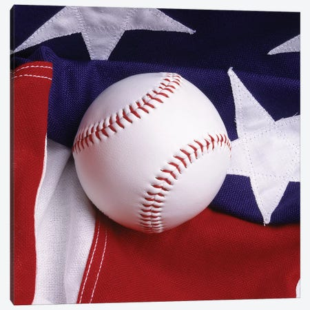 Baseball With American Flag Canvas Print #VTG613} by Vintage Images Art Print