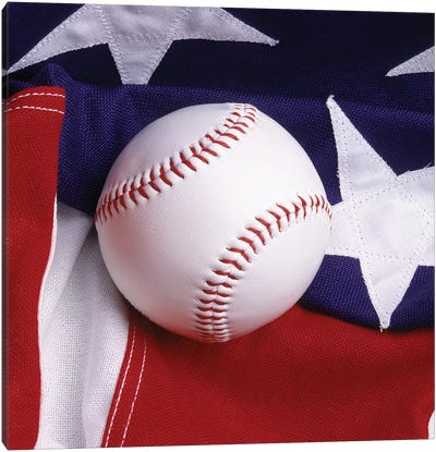 Baseball With American Flag Canvas Art Print