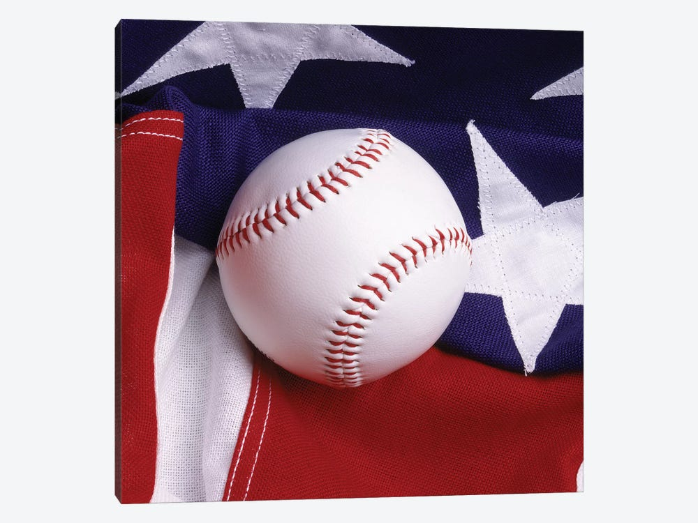 Baseball With American Flag by Vintage Images 1-piece Canvas Wall Art