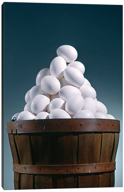 Brown Wooden Bushel Basket Full Of White Chicken Eggs In 1 Basket Pyramid Shape Triangle Canvas Art Print