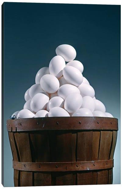 Brown Wooden Bushel Basket Full Of White Chicken Eggs In 1 Basket Pyramid Shape Triangle Canvas Art Print