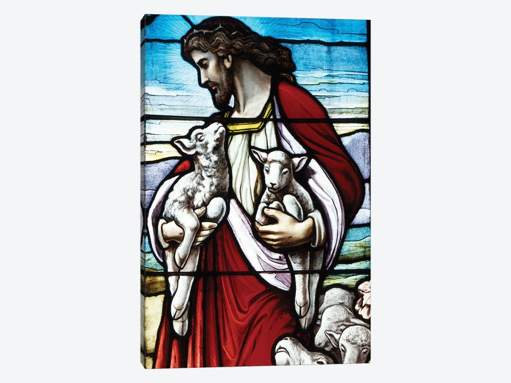 Christ The Good Shepherd With His Flock 1-piece Canvas Print