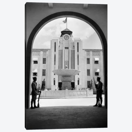 1920s-1930s Chinese Military Guards At Arched Entrance Supreme Court Building Nanking China Canvas Print #VTG61} by Vintage Images Canvas Wall Art