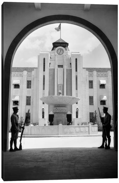 1920s-1930s Chinese Military Guards At Arched Entrance Supreme Court Building Nanking China Canvas Art Print