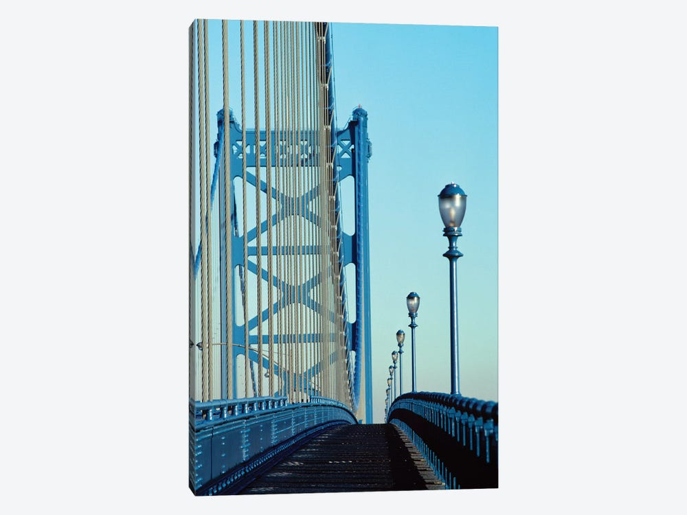 Empty Walkway On Benjamin Franklin Bridge Built In 1923 Over Delaware River Philadelphia Pennsylvania USA 1-piece Canvas Art
